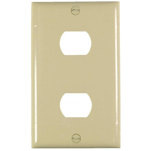 Pass and Seymour 2-Port Ivory Thermoset Ribbed Wall Plate